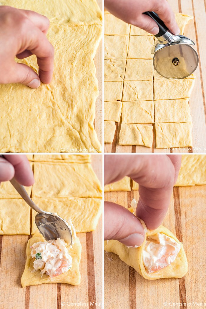 Four process photos showing the preparation of the crescent dough, cutting the dough into squares and filling them with the crab filling