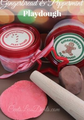 Peppermint playdough and gingerbread playdough in jars and on the counter with a rolling pin and a title