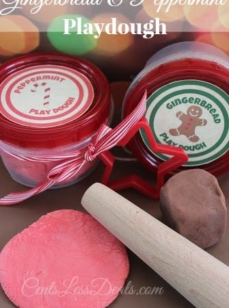 Gingerbread & Peppermint Playdough recipe with printable labels. Great gift idea!