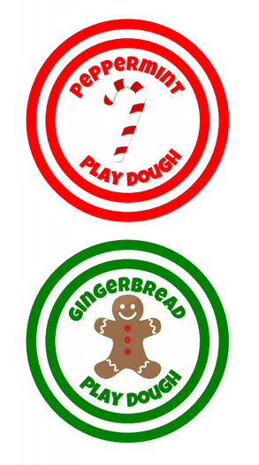 Homemade Peppermint Play Dough label with a candy cane and red rings around it and Homemade Gingerbread Play Dough table with a gingerbread man and green rings around it