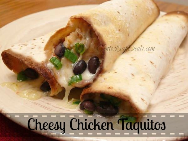 Easy cheesy chicken taquitos on a plate with a title