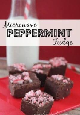Microwave peppermint fudge on a red plate with crushed candy canes on top and a title