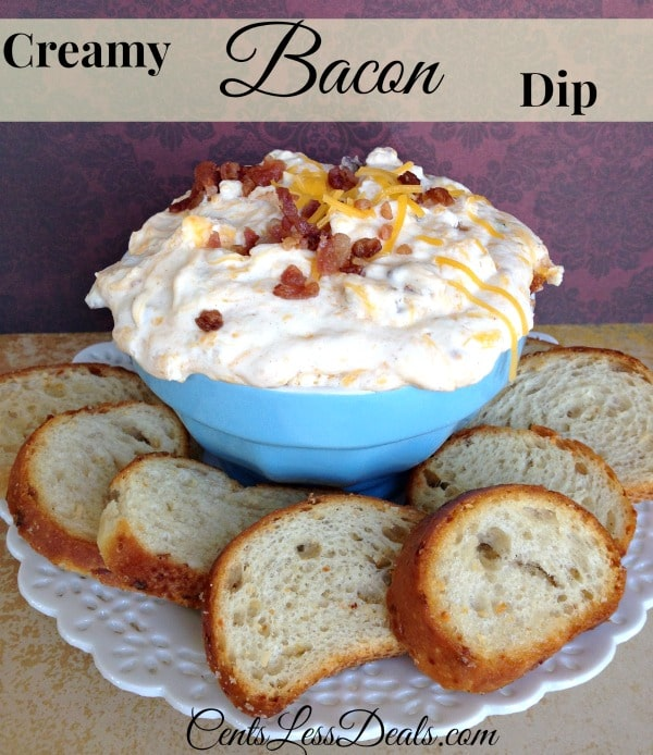 Creamy bacon dip in a bowl with slices of bread and a title