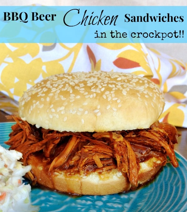 Crockpot BBQ Beer Chicken Sandwiches easy and soo delicious
