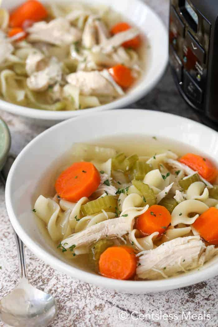 crockpot chicken noodle soup made from scratch