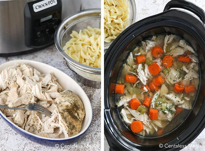 Left photo shows cooked pulled chicken. Right photo shows the chicken soup prior to the noodles being added.