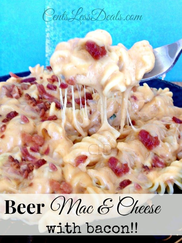 beer macaroni & cheese with bacon! Perfect SuperBowl dish!