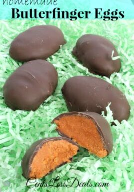 Homemade Butterfinger eggs with one open to show the inside and a title