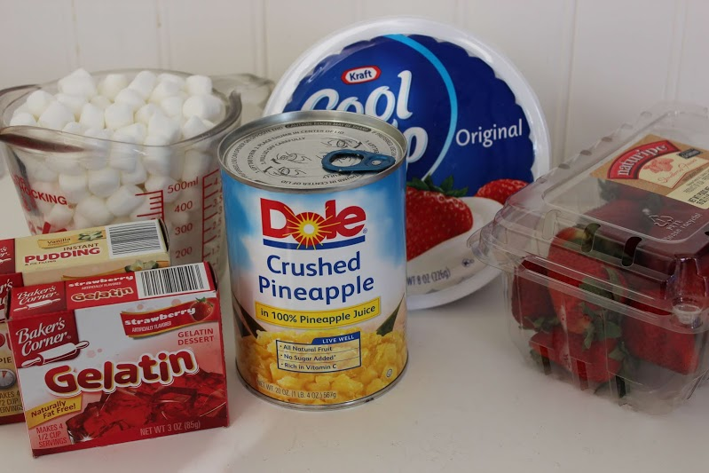 Strawberry fluff ingredients include jello, cool whip and strawberries to create a side dish everyone will love!