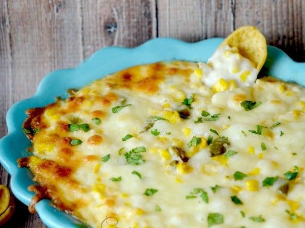 Cheesy Corn Dip in a blue bowl