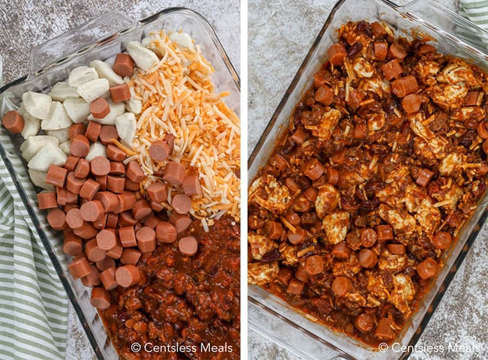 Ingredients for chili cheese dog bake in a casserole dish and mixed ingredients for chili cheese dog bake in a casserole dish not cooked