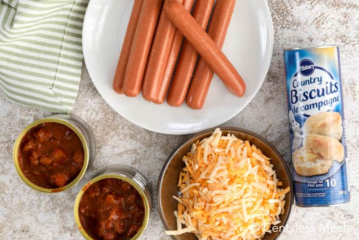 Chili cheese dog bake ingredients on a table.