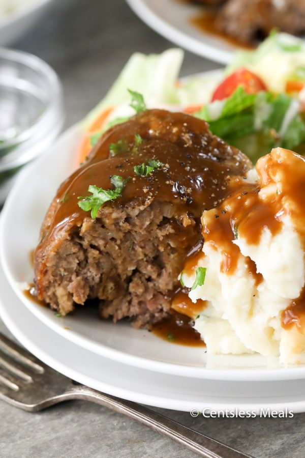 Meatloaf and mashed potatoes in a bowl.