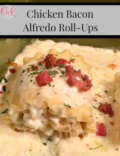 Chicken Bacon Alfredo Roll-Ups with a title