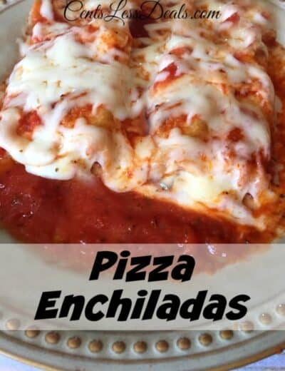 Pizza Enchiladas on a plate with a title