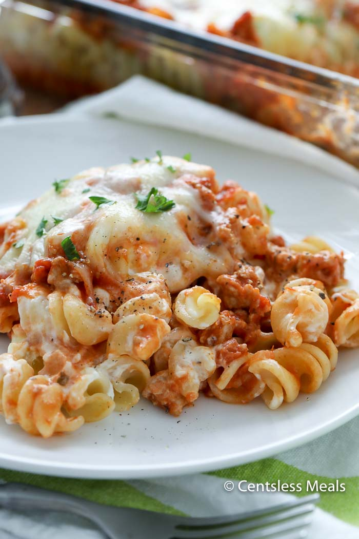 My Sour Cream Noodle Bake Recipe is loaded with ground beef, 3 different types of cheese and pasta sauce. Baked together to create a delicious combination that may just top your favourite lasagna recipe!