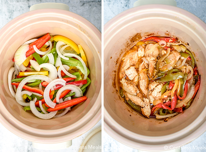 Process images of veggies and chicken being added to crock pot