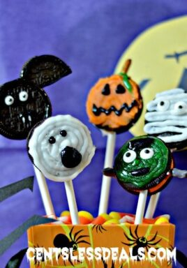 Monster pops in a dish with candy corn
