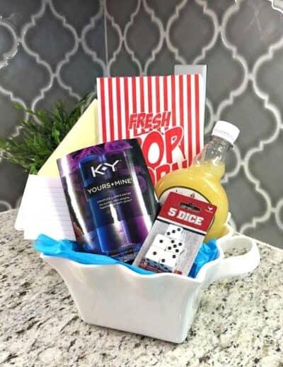 Romance DIY gift basket on the countertop