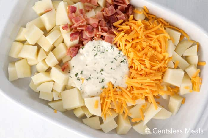 Cheesy Ranch Potato ingredients in a casserole dish.