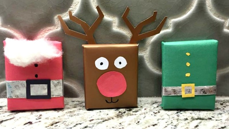Gum wrapped as Santa reindeer and an elf for extra special stocking stuffers