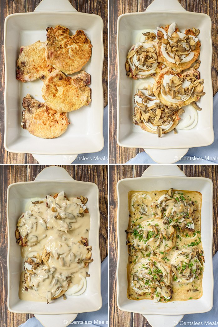 Four images showing the steps to prepare pork chops with mushroom gravy.