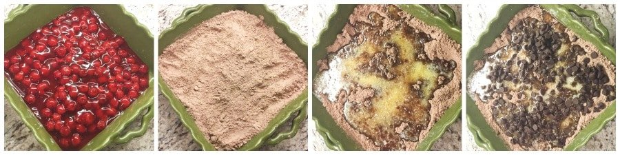 Steps to show how to make black forest dump cake