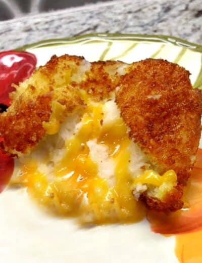 Fried potato ball on a plate