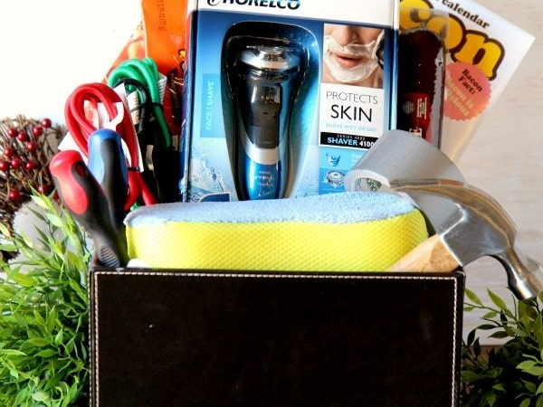 Basket filled with stocking stuffer and gift ideas for men