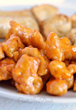 Easy orange chicken on a plate