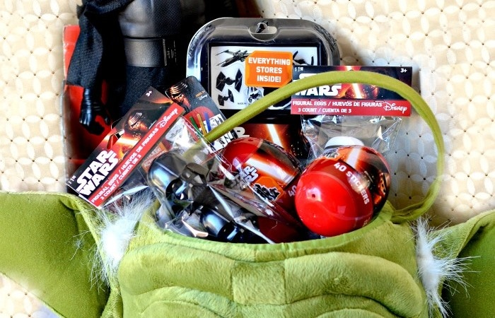 Yoda Easter basket filled with Star Wars toys