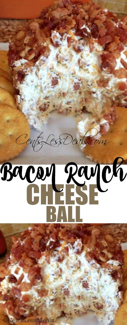 This bacon ranch cheese ball is super yummy and always a hit every time I make it!