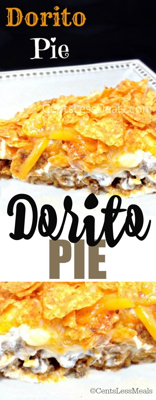 Dorito pie on a plate with a title