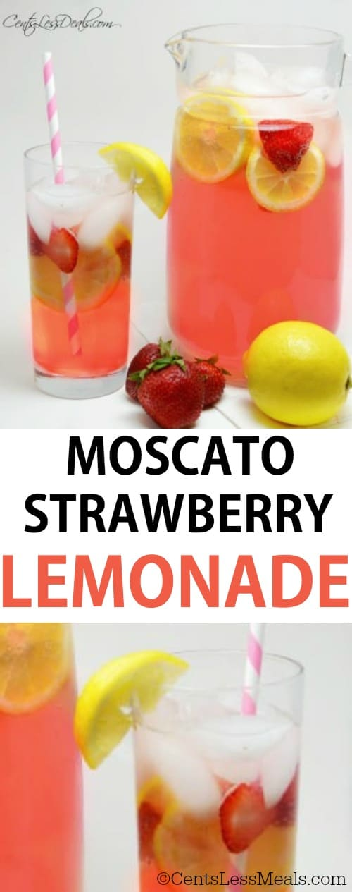 Moscato strawberry lemonade in a glass pitcher and in a glass with strawberries and lemonade with a title