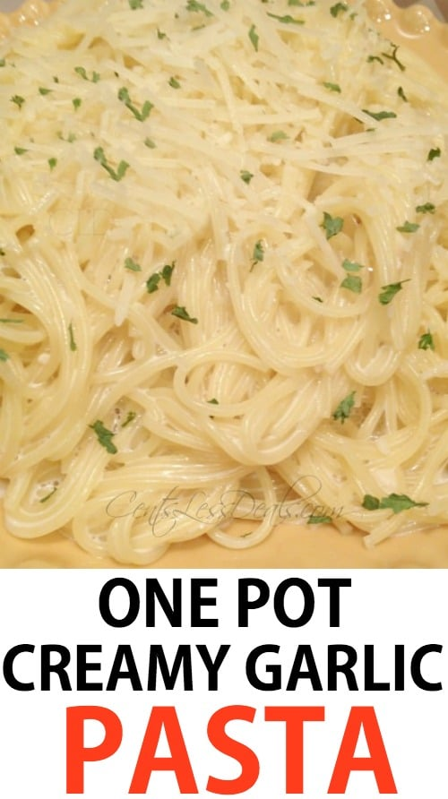 This one pot creamy garlic pasta is sooooo yummy!!! It's so easy and takes under 10 minutes to make.