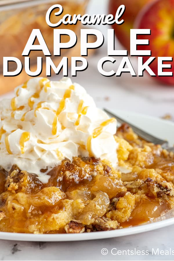 Apple Dump Cake on a white plate with whipped cream and caramel sauce drizzle.