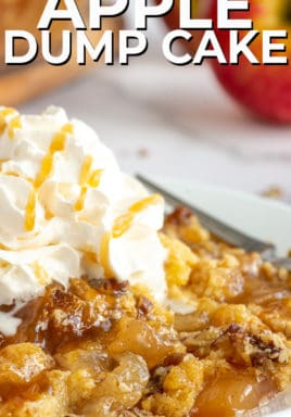 Caramel apple dump cake on a plate with a title