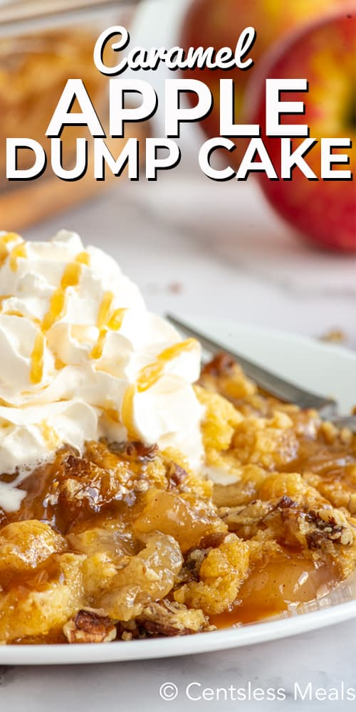 Apple Dump Cake served on a white plate with whipped cream and caramel sauce drizzle.