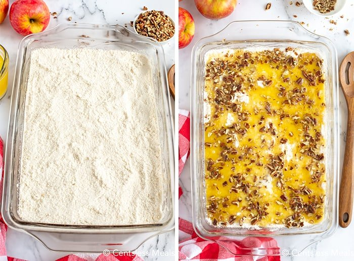 """The photo on the left shows the cake mix spread over the filling in a 9x13""""pan. The right photo shows melted butter and pecans over the top of the cake mix."""