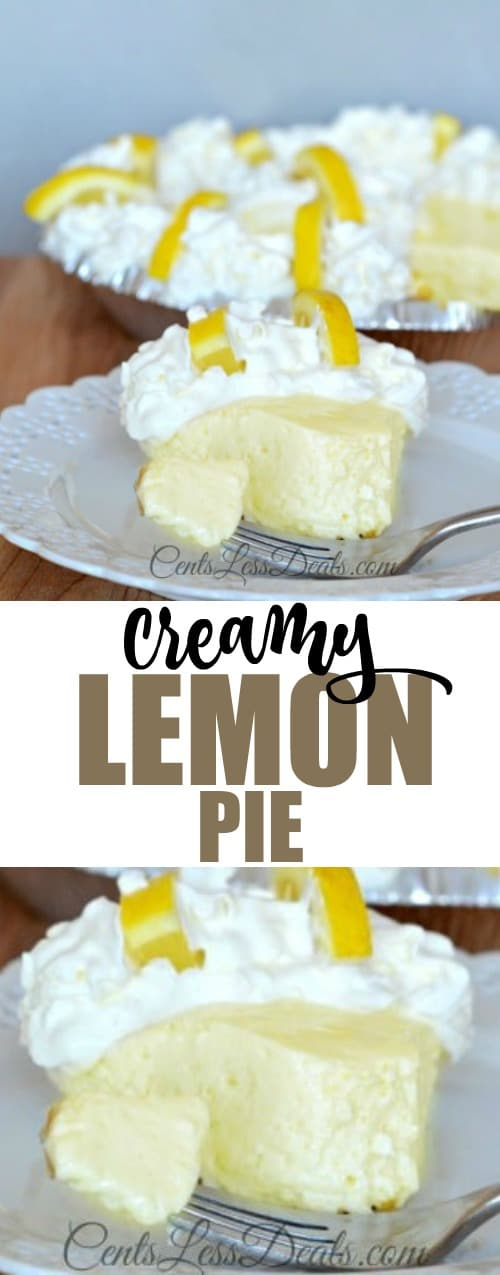 Creamy lemon pie on a white plate with a fork and a title