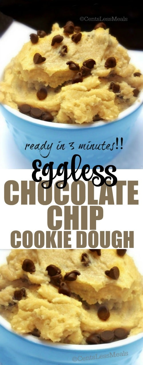 3 Minute Eggless Chocolate Chip Cookie Dough recipe