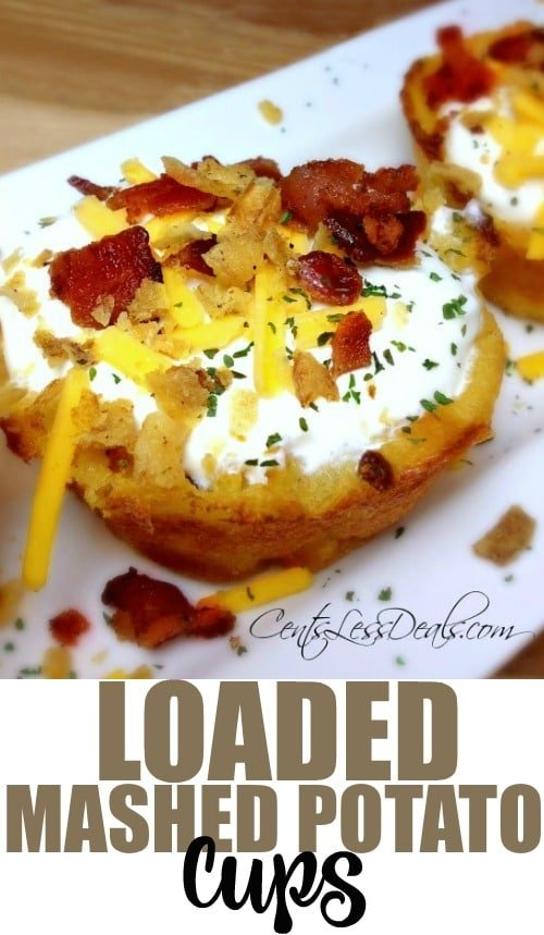 These Loaded Mashed Potato Cups are sooo yummy!! I had some leftover mashed potatoes and needed a quick side dish, and the Loaded Mashed Potato Cups idea was born!