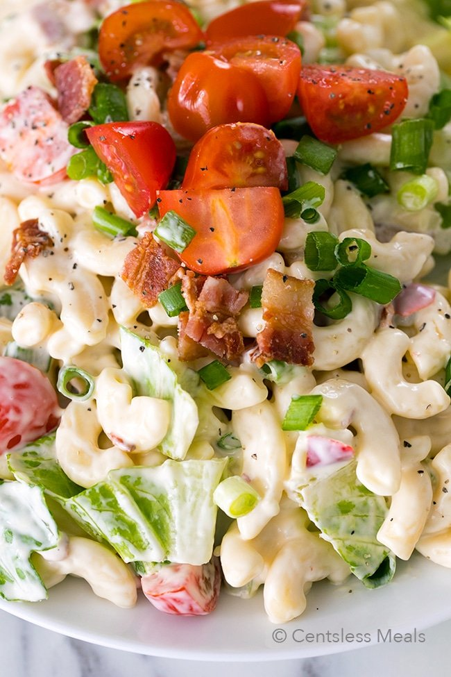 BLT Pasta Salad the perfect summer dish with crisp salty bacon, succulent tomatoes and crunchy romaine for a pasta salad your family is going to love!