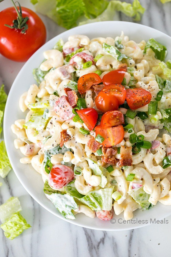 BLT pasta salad is a great side dish for barbecues