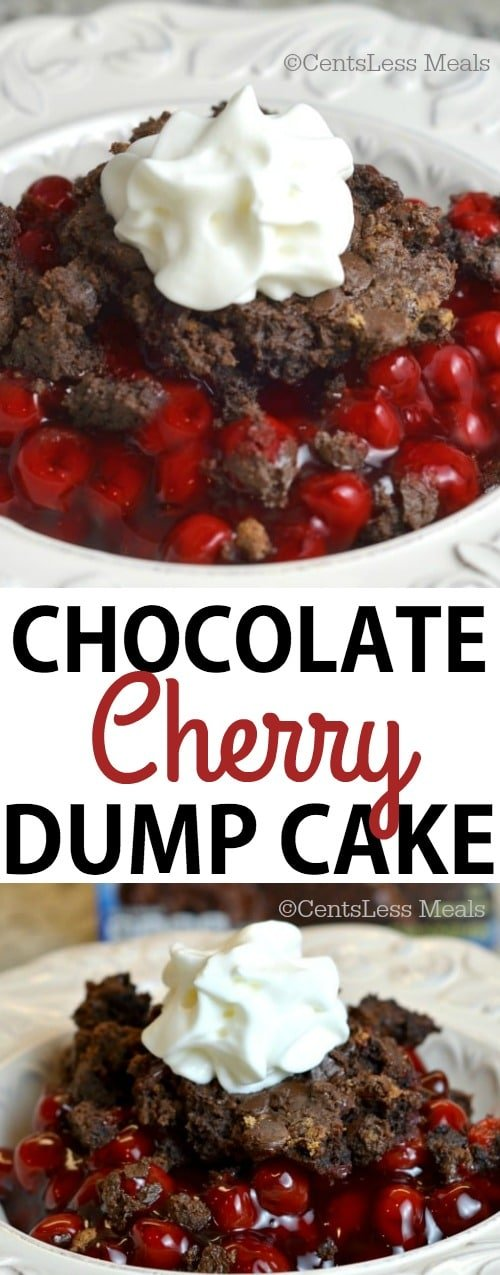 Chocolate cherry dump cake in a white bowl with whipped cream and writing