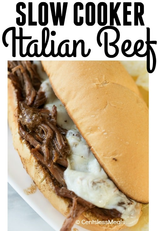 Crock Pot Italian Beef Sandwich served on a white plate