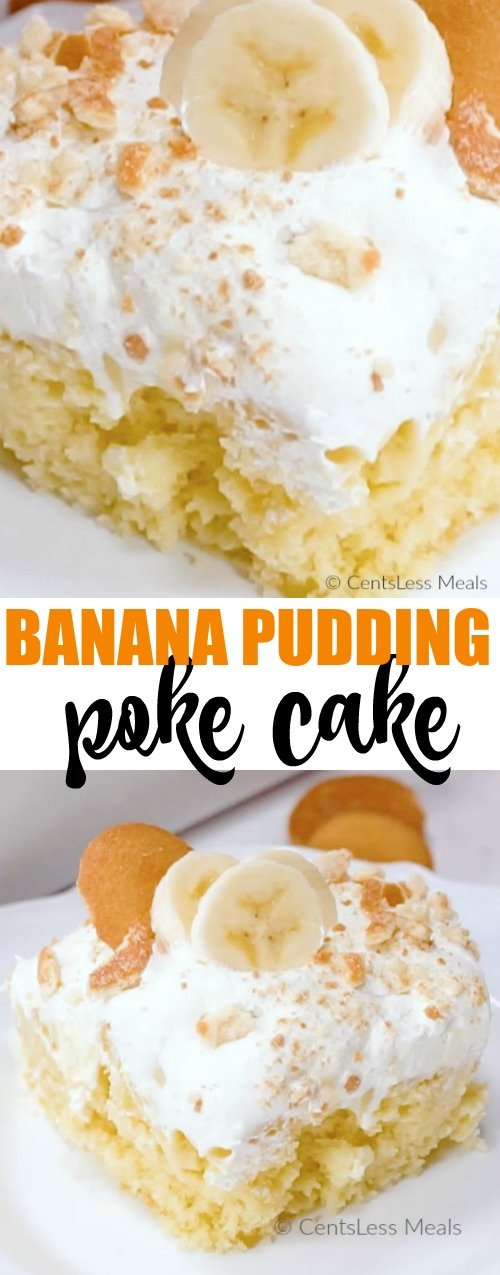 Easy Banana Pudding Poke Cake has been a favorite recipe for YEARS! A soft fluffy yellow cake topped with creamy banana pudding, whipped topping and 'Nilla wafers! This is one recipe you'll make over and over!