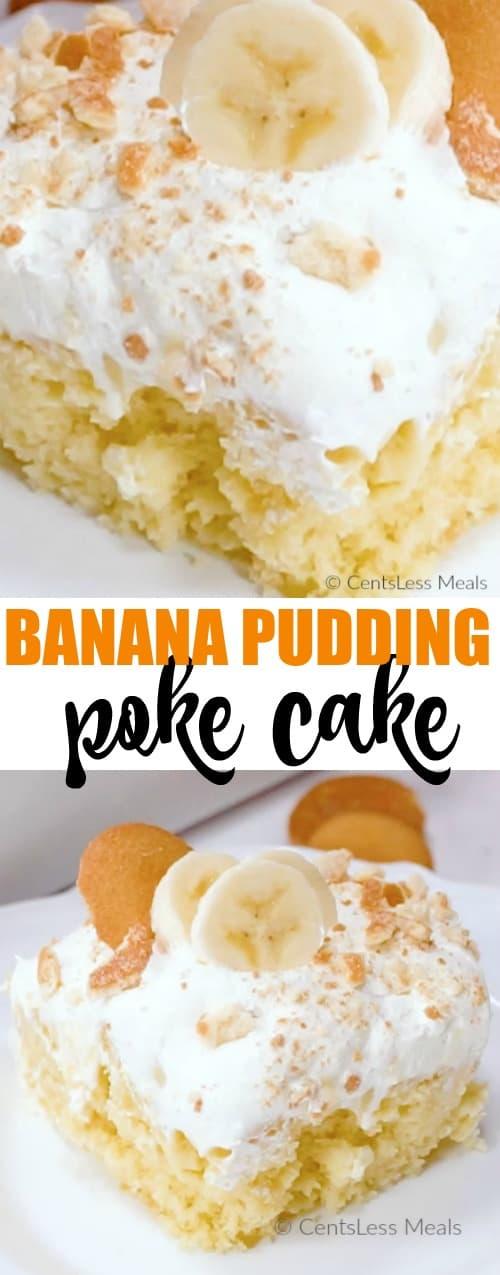 Banana pudding poke cake on a plate with a title