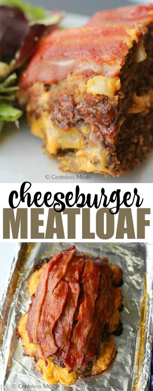 Cheeseburger meatloaf on a baking sheet and on a plate with a title
