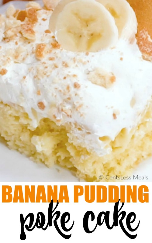Banana Pudding Poke Cake garnished with banana slices